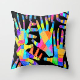 Hands of colors | Hands of light Throw Pillow