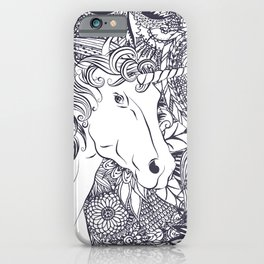Whimsy unicorn and floral mandala design iPhone Case