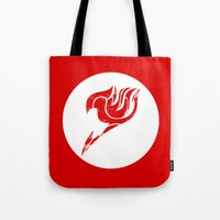 fairy tail Tote Bags featuring Fairy Tail Segmented Logo circle by JoshBeck