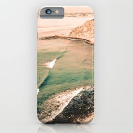 California Pacific Coast Highway // Vintage Waves Crashing on the Beach Teal Ocean Water iPhone Case
