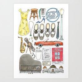 La La Land Flat Lay Illustration Art Print