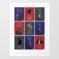 literary Art Prints featuring WINTER SOLDIER LITERARY QUOTES by Samantha Panther