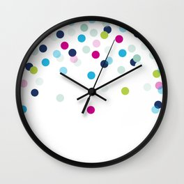 CUTE CONFETTI SPOTS - bright colorful - pink, aqua blue, mint, navy Wall Clock