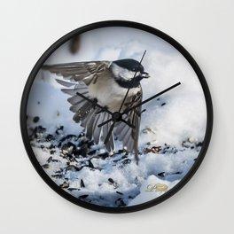 Christmas Chickadee Wall Clock