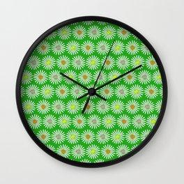 Green 70's flowers Wall Clock