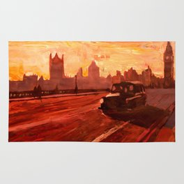 London Taxi Big Ben Sunset with Parliament Rug