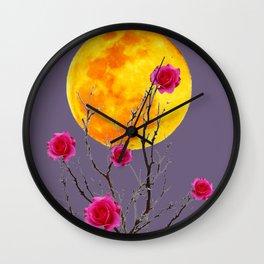 SURREAL FULL MOON & PINK WINTER ROSES Wall Clock