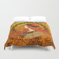nouveau Duvet Covers featuring Steampunk Nouveau by Nana Leonti