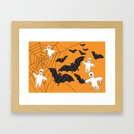 Flying Ghosts & Bats Halloween orange Framed Art Print
