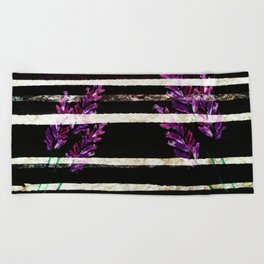 stripes and violet purple flowers Beach Towel