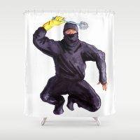 bathroom Shower Curtains featuring Bathroom Ninja by Del Gaizo