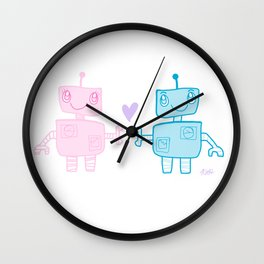 robots in love Wall Clock