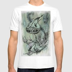 re; 6 White MEDIUM Mens Fitted Tee