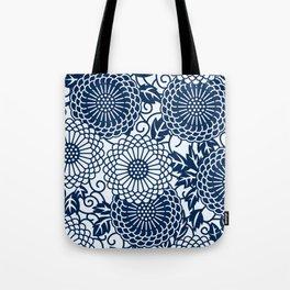 japanese blue flower pattern Tote Bag