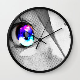 Anime Girl Eyes 2 Black And White Blue Eyes 2 Wall Clock