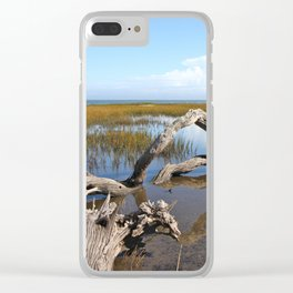 Driftwood, Quiet morning by the Sea Clear iPhone Case