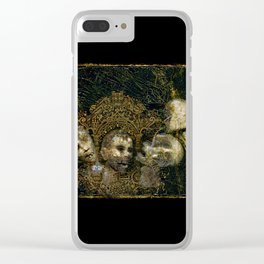 4 screaming severed Heads with pretty gold frame Clear iPhone Case