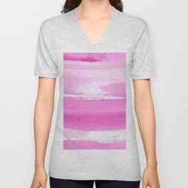 Blush pink white watercolor brushstrokes stripes Unisex V-Neck