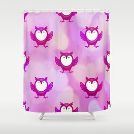 Pink Christmas Owls Gift For Her Shower Curtain