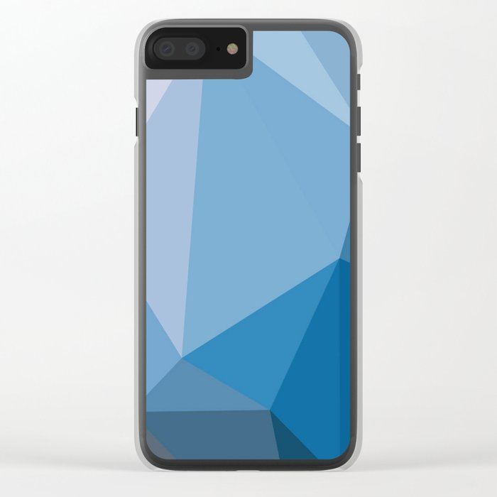 Shades Of Blue Triangle Abstract Clear iPhone Case