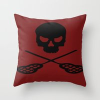 lacrosse Throw Pillows featuring Lacrosse by Beastie Toyz