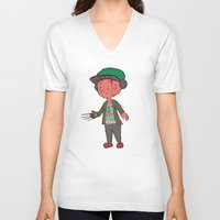 freddy krueger V-neck T-shirts featuring Horror Hipsters - Freddy Krueger by Duddy In Motion