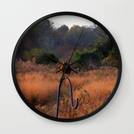 Robin Perched on Bird Feeder Stand Wall Clock