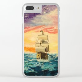 Pirating by Sunset Clear iPhone Case