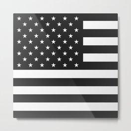 American Flag Stars and Stripes Black White Metal Print