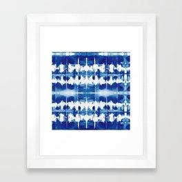 Shibori Tie Dye Indigo Blue Framed Art Print