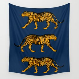 Tigers (Navy Blue and Marigold) Wall Tapestry