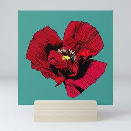 Seasons K Designs Red Poppy on Aqua Print Mini Art Print