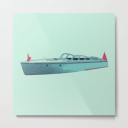 Vintage Wooden Cabin Boat Cruiser II - Susanne Johnson Art Metal Print