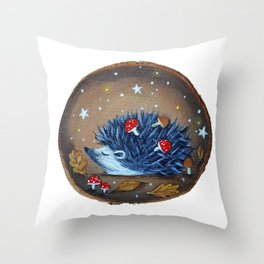 Magical Autumn Hedgehog With Forest Treasures Throw Pillow