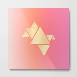 Gradient pink & gold triangles Metal Print