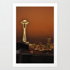 Seattle Skyline - Red Sky at Night Art Print