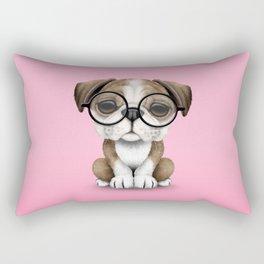 Cute English Bulldog Puppy Wearing Glasses on Pink Rectangular Pillow