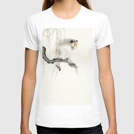 Monkey on tree branch - Vintage Japanese Woodblock Print Art T-shirt