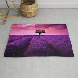 Pink Sunset in Fields of Lavender portrait Rug