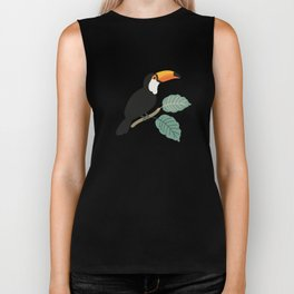 Toucan birds and palm leaves in the jungle Biker Tank