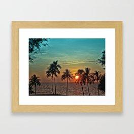 Sunset at Mauna Kea Beach, Hawaii Teal Framed Art Print