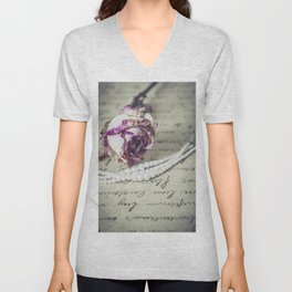 love letter with pearls and rose Unisex V-Neck