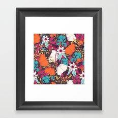 Floral Pattern -Orange, Magenta and Teal Framed Art Print