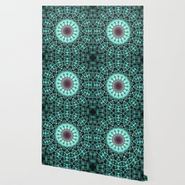 Bright Teal Black Bohemian Mandala Wallpaper