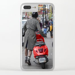 Man With Scooter In Chinatown Clear iPhone Case