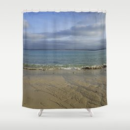 Patterns in the Sand with Blue Skies Above Shower Curtain