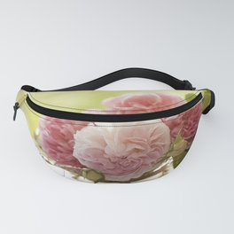 Pink Roses in a silver bowl - Vintage Rose Stilllife Photography Fanny Pack