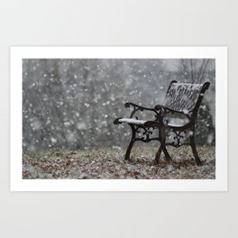 Snowfall in the loneliness Art Print