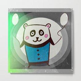 Happy Cute Panda Metal Print