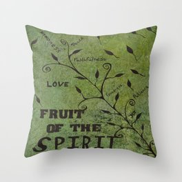 Faith Religious Art---Fruit of the Spirit---Bible Scripture Galations 5:22 by Saribelle rodriguez Throw Pillow